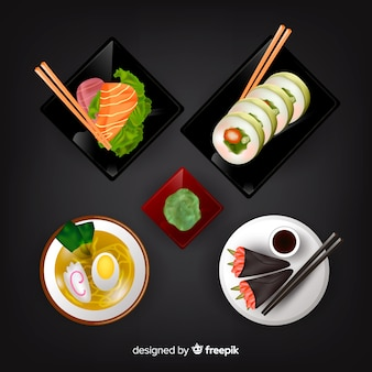 Realistic tasty food dish collection