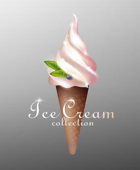 Realistic tasty sundae ice cream template