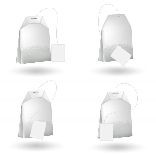 Реалистичные чайный пакетик, изолированные на белом фоне.