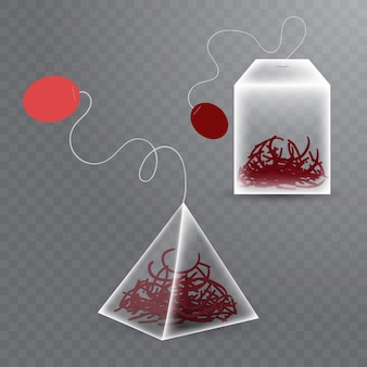 Realistic tea bags of two different forms with red hibiskus tea on transparent background.