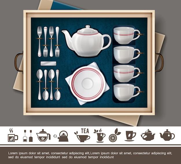 Реалистичная концепция подарочного набора чая с фарфоровыми чашками, тарелкой, чайником, серебряными столовыми приборами и плоскими значками времени чая