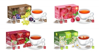 Realistic tea packaging mockup collection