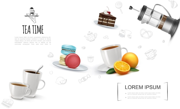 Realistic tea party elements template with teacups chocolate cake piece macaroons on plate french press orange and tea time linear icons