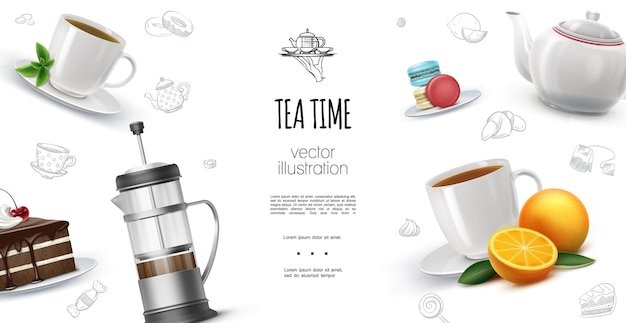 Realistic tea time  with oranges macaroons chocolate cake piece french press teapot cups of hot herbal and fruit tea