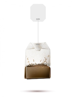Realistic teabag with blank paper label