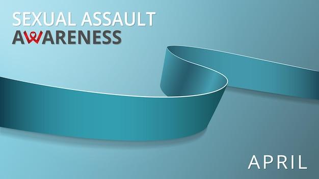 현실적인 청록색 리본. 성범죄 인식의 달 포스터. 벡터 일러스트 레이 션. 세계 성폭력의 날 연대 개념. 청록색 배경입니다. 다낭성 신장, 난소암 근무력증의 상징.