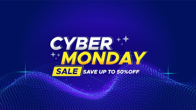 Realistic tech cyber monday in abstract banner