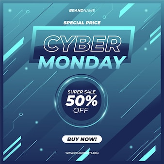 Realistic technological cyber monday sale design