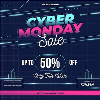 Realistic technological cyber monday sale promo