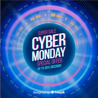 Realistic technology banner cyber monday