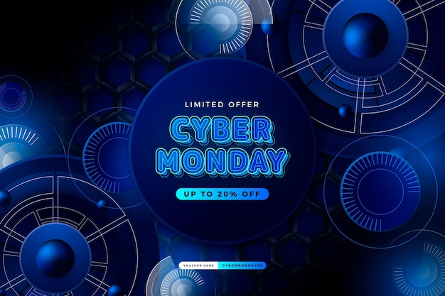 Realistic technology cyber monday background