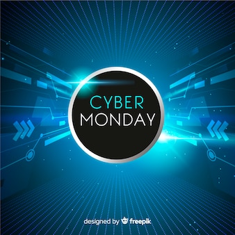 Realistic technology cyber monday banner