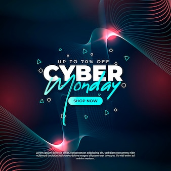 Realistic technology cyber monday concept
