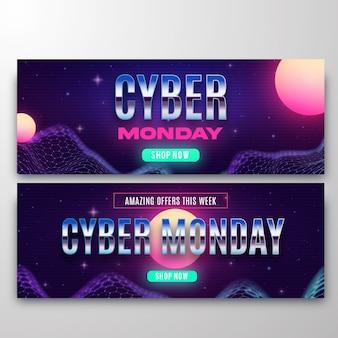 Set di banner orizzontali di cyber lunedì di tecnologia realistica