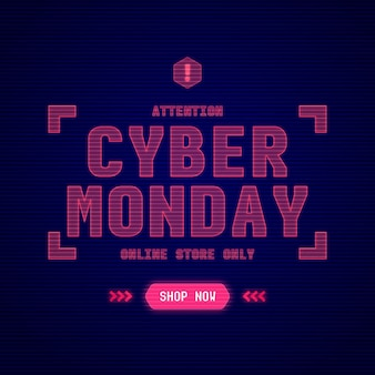 Testo di cyber lunedì di tecnologia realistica
