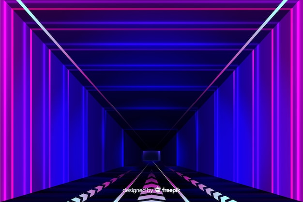 Realistic technology light tunnel background