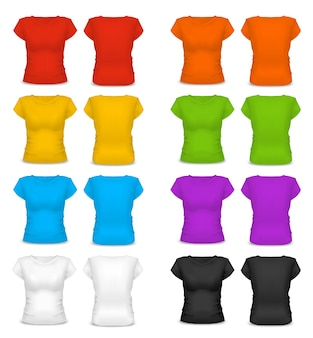 アクティブなスポーツや企業スタイルのための現実的なテンプレート空白色の女性のtシャツ綿の服。