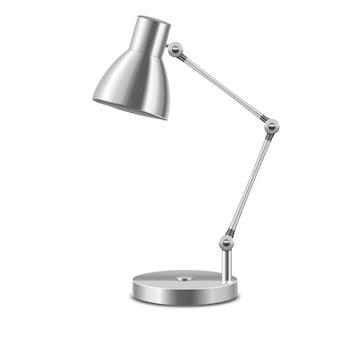 現実的なテンプレート空白の金属テーブルランプは、白い背景で隔離のインテリアオフィスや家を照らします。ベクトルイラスト