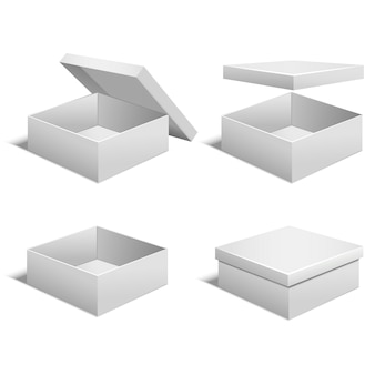 Realistic template blank white boxes set for gift or present empty.  illustration