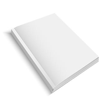 現実的なテンプレート空白の白い閉じた詳細なジャーナルまたは雑誌が空のデザインの準備ができています。ベクトルイラスト