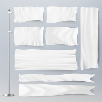 Realistic template blank white flags