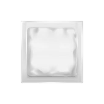 現実的なテンプレート空白の白いホイルパックスナック、食品の空のモックアップ
