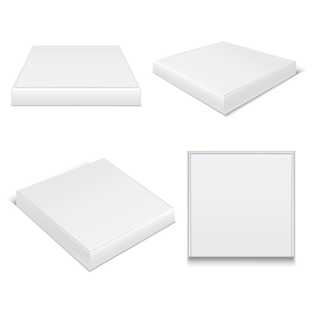 Realistic template blank white package pizza boxes