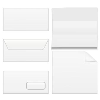 現実的なテンプレート空白の白い紙の封筒は、オフィスのドキュメント、レター、またはメッセージスペースに設定されます。ベクトルイラスト