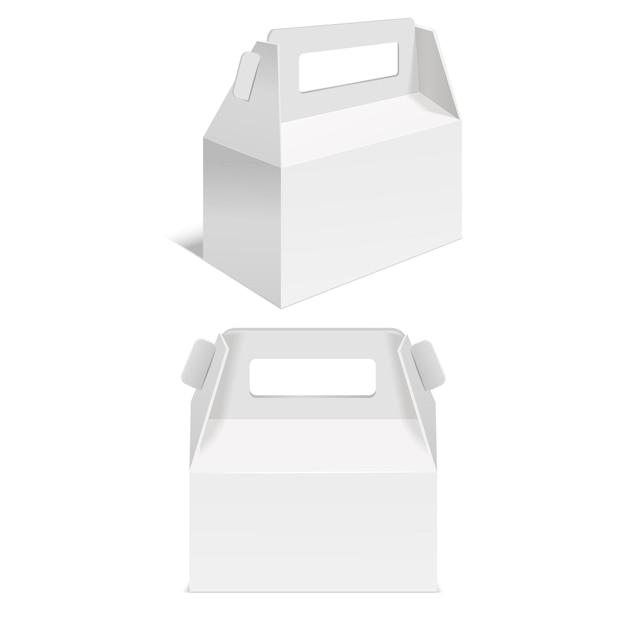 Реалистичные шаблон пустой белой бумаги складной коробки.
