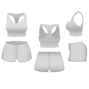 現実的なテンプレート空白の白いパンツとスポーツ、フィットネスのためのトップベーシックな女性の服。
