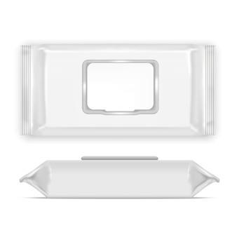 現実的なテンプレート空白の白いワイプ空の上面図と側面。