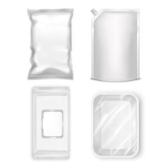 현실적인 템플릿 빈 흰색 물티슈, 식품 용기, 호일 백 및 플라스틱 팩