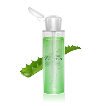 Realistic template for cosmetic package with aloe vera extract, 3d illustration