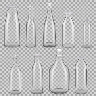 Realistic template of empty glass transparent bottles for drinks of juice and milk