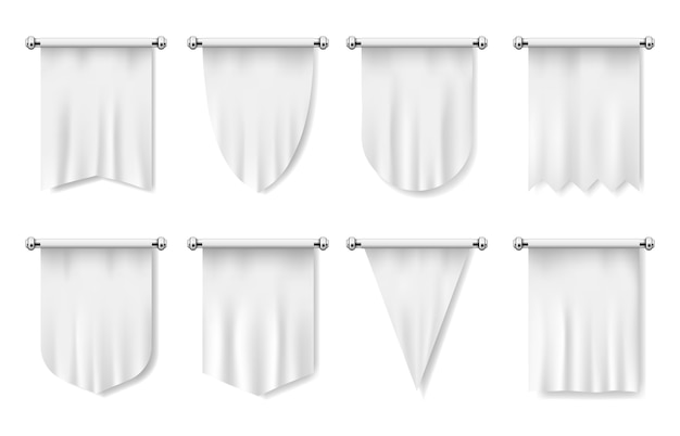 Realistic template of waving fabric vertical flags
