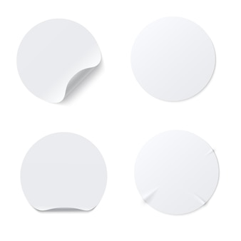 Realistic template  of white round paper adhesive sticker with curved edge isolated on white background. crumpled round sticky  paper label with glued effect. vector mockup set.
