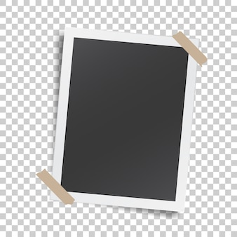 접착 테이프와 종이 사진 프레임 현실적인 템플릿