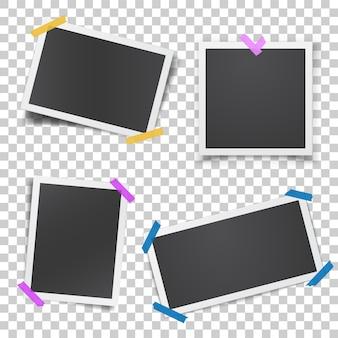 Реалистичный шаблон с бумажными фоторамками, склеенными липкой лентой