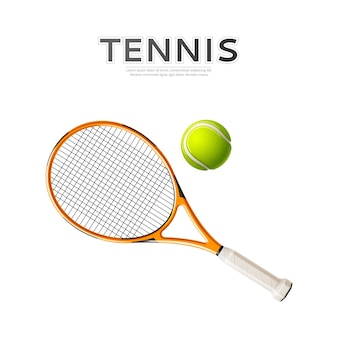 Realistic tennis racket and green ball