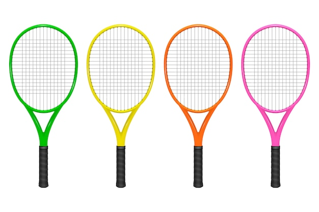 Realistic tennis racket set, closeup isolated on white background.