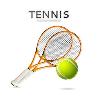 현실적인 테니스 라켓과 녹색 공