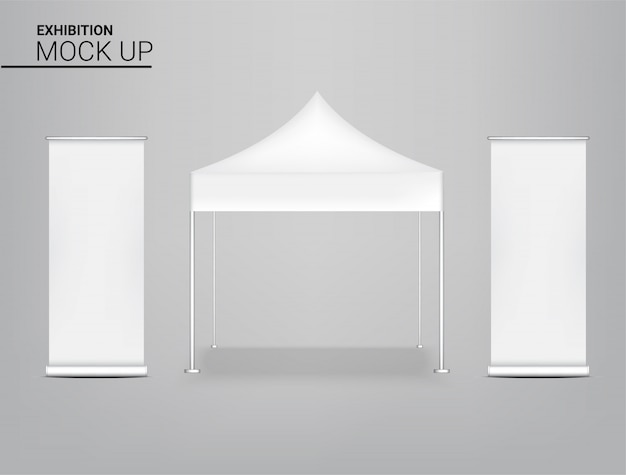 Realistic tent kiosk booth with banner for sale marketing promotion