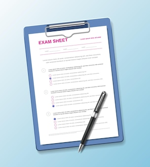 Realistic test paper questionnaire composition with exam sheet on holder pad with pen