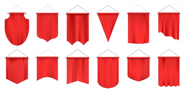 Realistic textile pennants. empty  flags, red fabric hanging pennant, advertising or royal award s   illustration set. canvas award hanging, pennant to soccer team