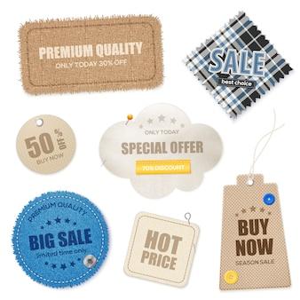 Realistic textile texture labels set