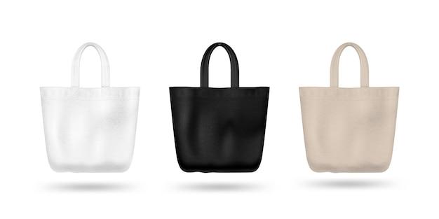 Реалистичная текстильная сумка. черно-белое и осаждающее. изолированные на белом фоне
