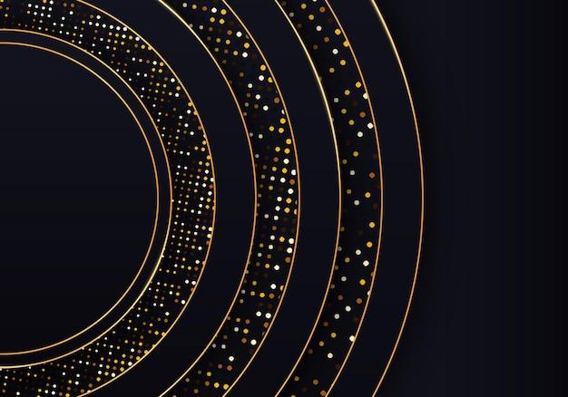 光の効果と金色のきらめきドット要素の装飾とリアルなテクスチャモダンな最小限のバナー豪華な背景