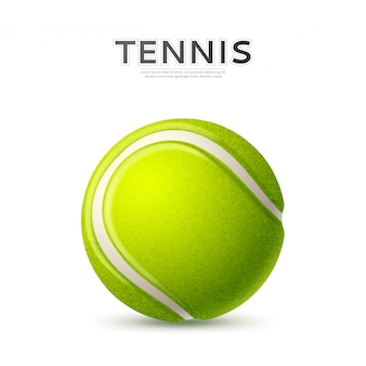 Realistic textured green tennis ball with curved line