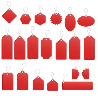 Realistic textured sell tags with ropes.