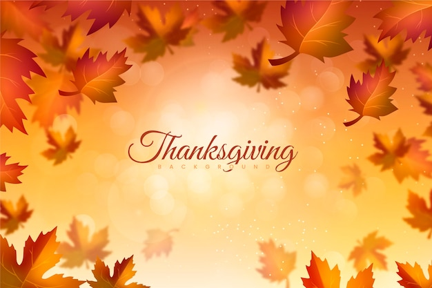 Realistic thanksgiving background with autumn leaves